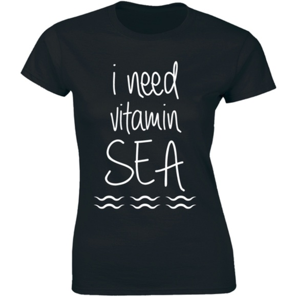 Half It Tops - I Need Vitamin Sea Awesome Funny Travel T-shirt
